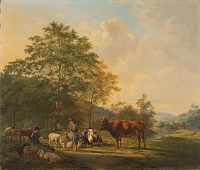 Hilly Landscape with Shepherd, Drover and Cattle