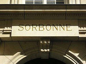 Sorbonne - Inscription over an entrance to the Sorbonne.