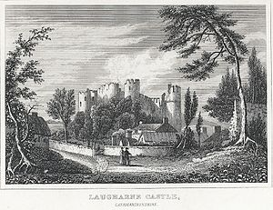 Laugharne Castle - Engraving of Laugharne Castle, ca. 1800