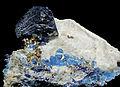 Lazurite, afghanite et pyrite sur calcite (Sar-e-Sang, Koksha Valley, Badakshan - Afghanistan).jpg