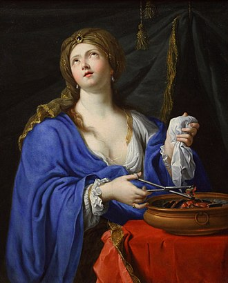 Porcia (wife of Brutus) - The suicide of Porcia, Pierre Mignard. Museum of Fine Arts of Rennes.