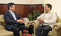 Le Yucheng calling on the Minister of State for Skill Development, Entrepreneurship, Youth Affairs and Sports (Independent Charge), Shri Sarbananda Sonowal, in New Delhi on October 28, 2014.jpg