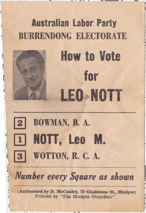 Leo Nott - Leo Nott, ALP. 1973 how to vote slip. Burrendong Electorate.
