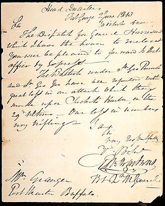 Robert Swartwout - Letter from general swartwout June 2, 1813