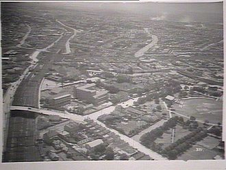 Lewisham, New South Wales - Aerial photograph of Lewisham in the 1930s showing from left, the railway line, Lewisham Hospital and Petersham Park