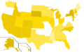 Libertarian Party presidential election results, 1976, ordinal (United States of America).png