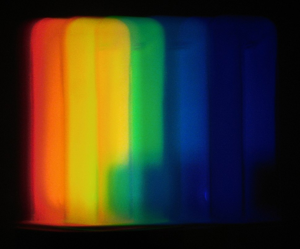 Light dispersion of a compact fluorescent lamp seen through an Amici direct-vision prism PNr%C2%B00114