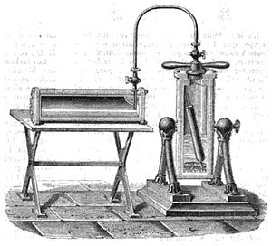 Adrien-Jean-Pierre Thilorier - Mareska and Donny's version (1845) of A.J.P. Thilorier's apparatus for making liquid carbon dioxide, showing the generator (right) and the receptacle (left).