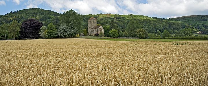 Panaorama of the Malvern Hills (AONB) with Little Malvern Priory.