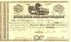 Little Miami Railroad - A share certificate of the Little Miami Railroad: it is unlikely that the locomotive shown was actually used on the railroad