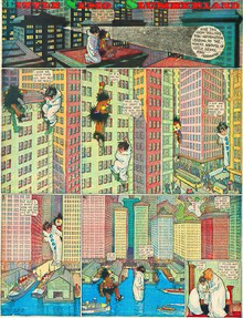 Comic strip of two giant characters wandering around a city
