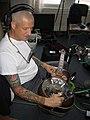 Lloyd Thayer with resophonic guitar WMPG radio station Portland ME November 2005.jpg