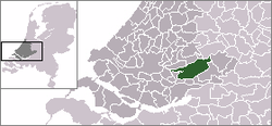 Highlighted position of Molenwaard in a municipal map of South Holland