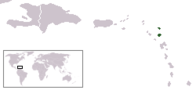 A map showing the location of Antigua and Barbuda