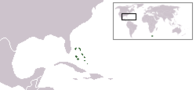 A map showing the location of Bahamas