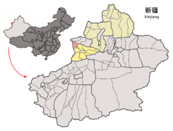 Location of Huocheng County (pink) in Ili Kazakh Autonomous Prefecture (yellow) and Xinjiang (grey)
