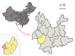 Location of Zhenkang County (pink) and Lincang Prefecture (yellow) within Yunnan province of China