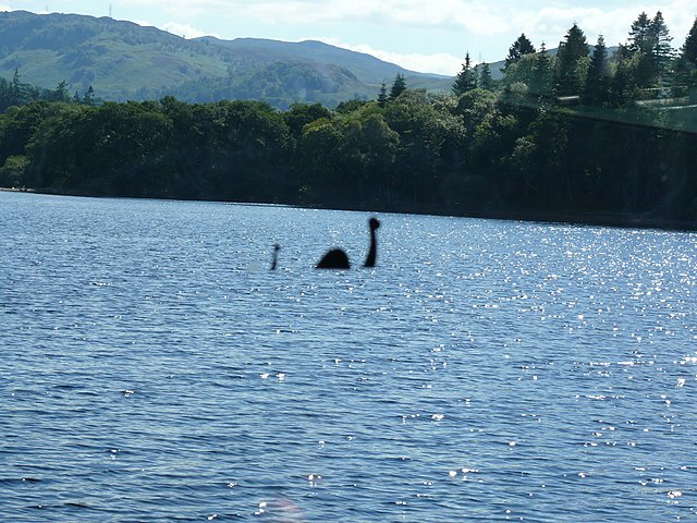 A photograph of Nessie in Loch Ness
