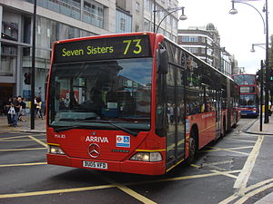 London Buses route 73 - Arriva London Mercedes-Benz O530G on Oxford Street in July 2010