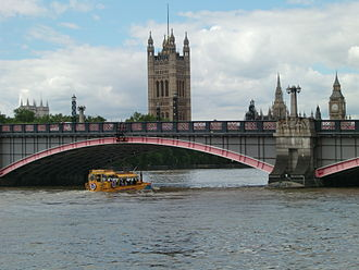 Lambeth Bridge - Detail from upstream with DUKW, Victoria Tower in centre