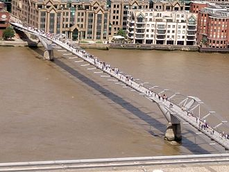 Millennium Bridge, London - Showing the cable suspension system.