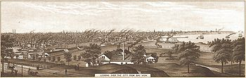 Looking over Milwaukee from Bay View in 1882