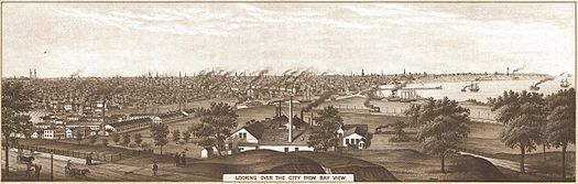 Drawing of Industrial Milwaukee in 1882 Looking over Milwaukee from Bay View in 1882.jpg
