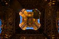 Looking up the center of the Eiffel Tower, Paris 2010.jpg