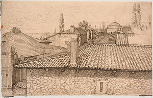 Melchior Lorck -  View over the rooftops of Constantinople, 1555-1559, pen and ink, Statens Museum for Kunst, Copenhagen