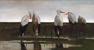 Louis Dubois (painter) - The Storks, 1858, now in the Royal Museums of Fine Arts of Belgium