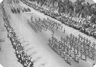 Portuguese Colonial War - Portuguese military parade in Luanda, Angola.