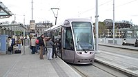 Luas Citadis 301 (Dublin tram) at Heuston station, June 2005.jpg