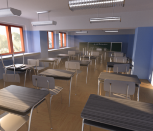 LuxRender - Rendering of a school interior with LuxRender. Modelled in Blender.