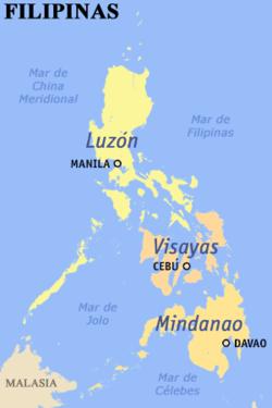Mapa de Filipinas mostrando las Bisayas