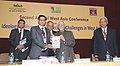 M. Hamid Ansari releasing the book 'Geopolitical Shifts in West Asia Trends and Implications' on the deliberations of 1st West Asia Conference edited by Dr. Prashant Kumar Pradhan, at the 2nd West Asia Conference.jpg