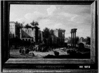 Landschap met klassieke ruïnes en een markt