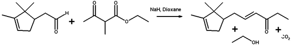 Aldol condensation of Ethyl 2-methylacetoacetate and campholenic aldehyde
