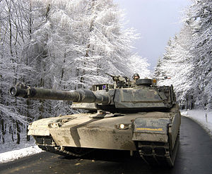 Tanks of the post–Cold War era - A M1A1 Abrams in the Taunus Mountains north of Frankfurt during Exercise Ready Crucible in February 2005.