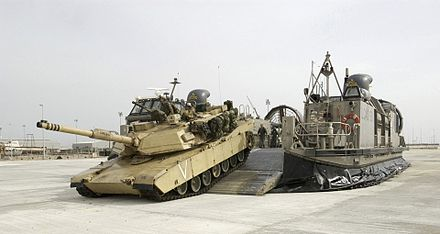 M1 Abrams offloading from Landing Craft Air Cushioned vehicle. M1 strategic mobility.jpg