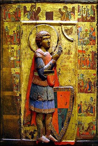 Святой Георгий с житием. Византийская икона.
