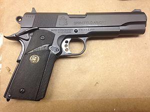 MEU(SOC) pistol - A MEU(SOC) 1911 pistol, built by PWS at Quantico, Virginia.