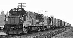 GE U25B - Milwaukee Road GE U25B at Bellingham, Washington 1972.