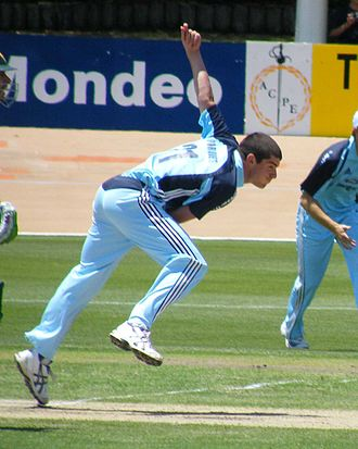 Moises Henriques - Henriques bowling for New South Wales in 2008