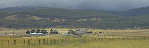 Molonglo Observatory Synthesis Telescope - MOST looking along E-W arm from the west.