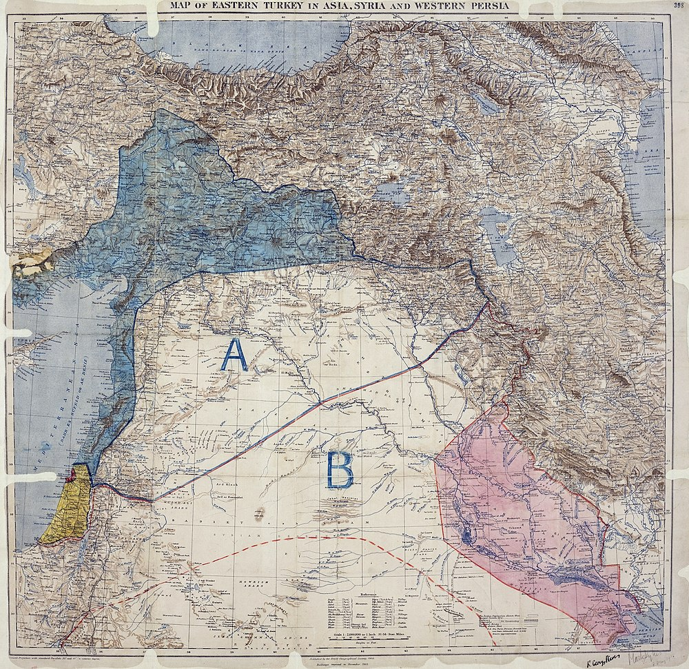"Palestine in the Sykes-Picot Agreement map under ""international administration""."