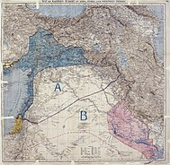 Sykes Picot Agreement Map. It was an enclosure in Paul Cambon's letter to Sir Edward Grey, 9 May 1916.