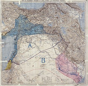 Sykes–Picot Agreement - Image: MPK1 426 Sykes Picot Agreement Map signed 8 May 1916