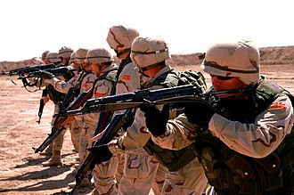 Desert Camouflage Uniform - Image: Macedonian soldiers practice reflexive fire skills at Camp Taji, Iraq (April 2008)