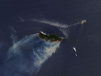 Madeira - NASA satellite image of wildfires on the island of Madeira from 19 July 2012