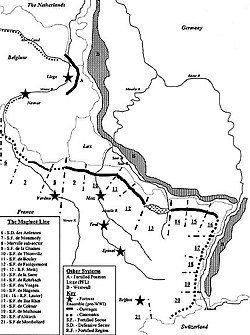 Map of the principal fortified section of the Maginot line